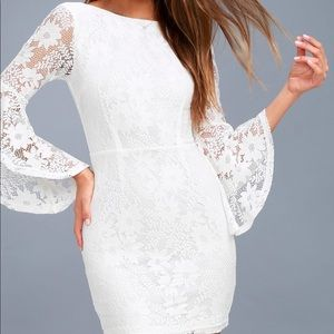 Lulu's Allure'Em white bell sleeve bodycon dress